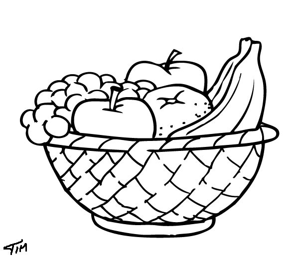 588x518 Printable Fruit Coloring Pages For Kids Fruits Fruit Basket