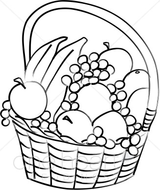 327x388 Simple Black And White Fruit Basket Clipart Wedding Picnic