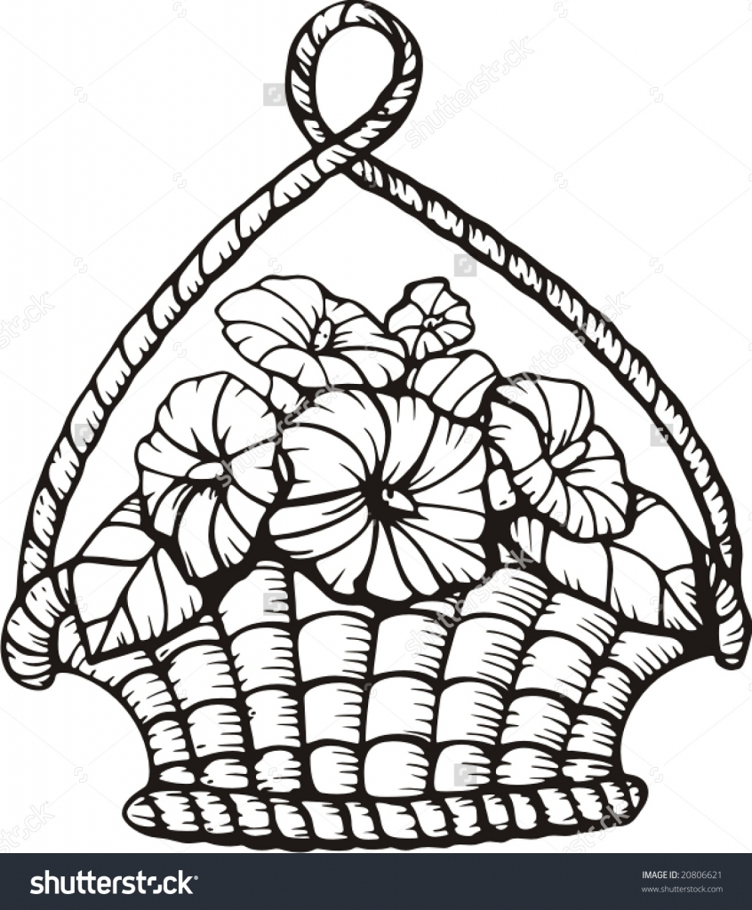 846x1024 Basket Drawing Sketch For Kid A Weave Clip Fruit Competition