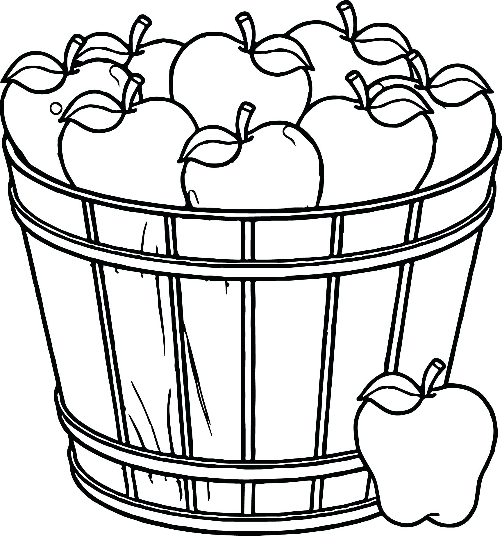 1727x1846 Basket With Apples Coloring