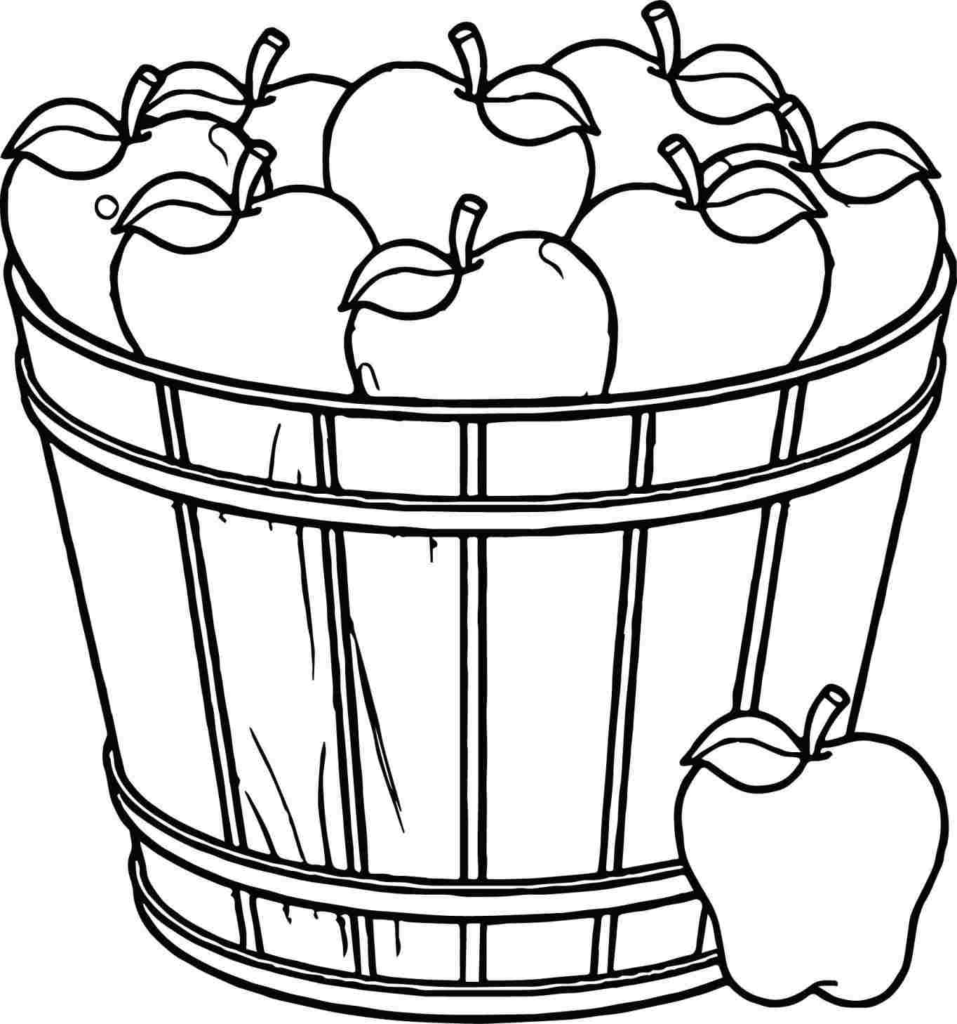 1364x1458 Fruit Basket Drawing For Kid