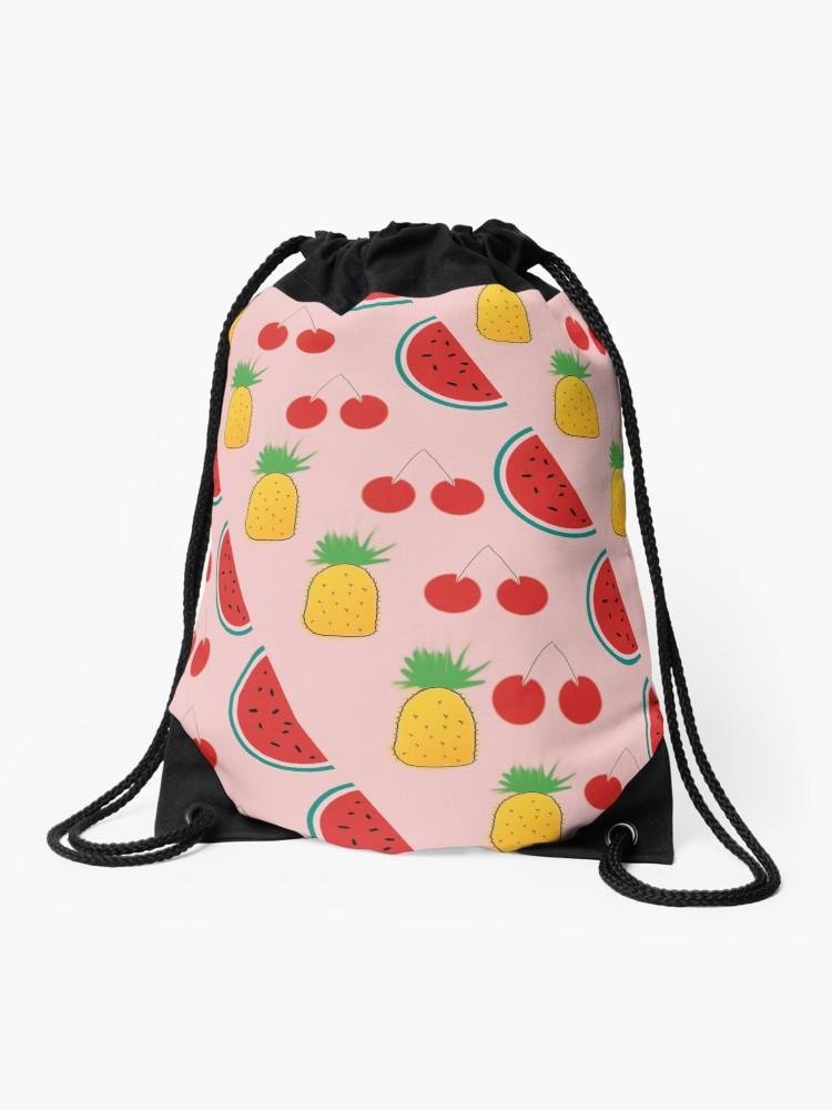 750x1000 Funky Fruit Salad Print Drawstring Bag