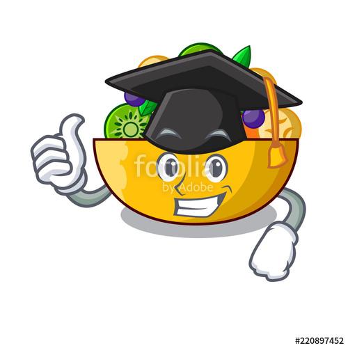 500x500 Graduation Cartoon Bowl Healthy Fresh Fruit Salad Stock Image