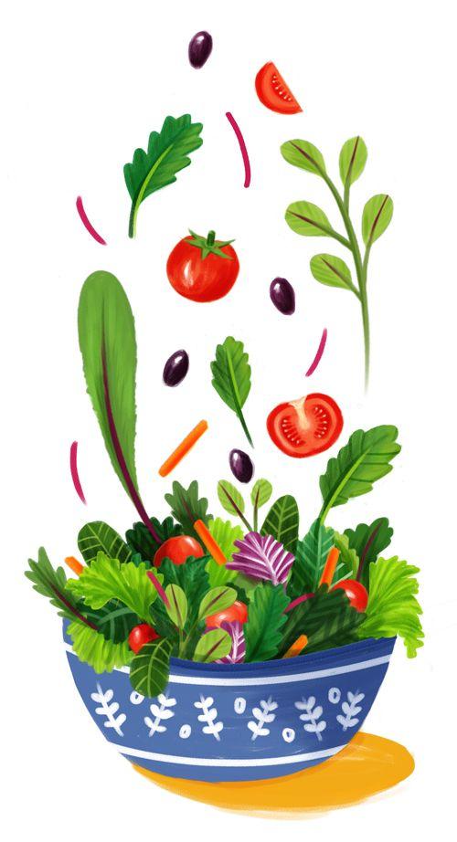 500x922 Tossed Salad Painting Food Illustrations In Illustration