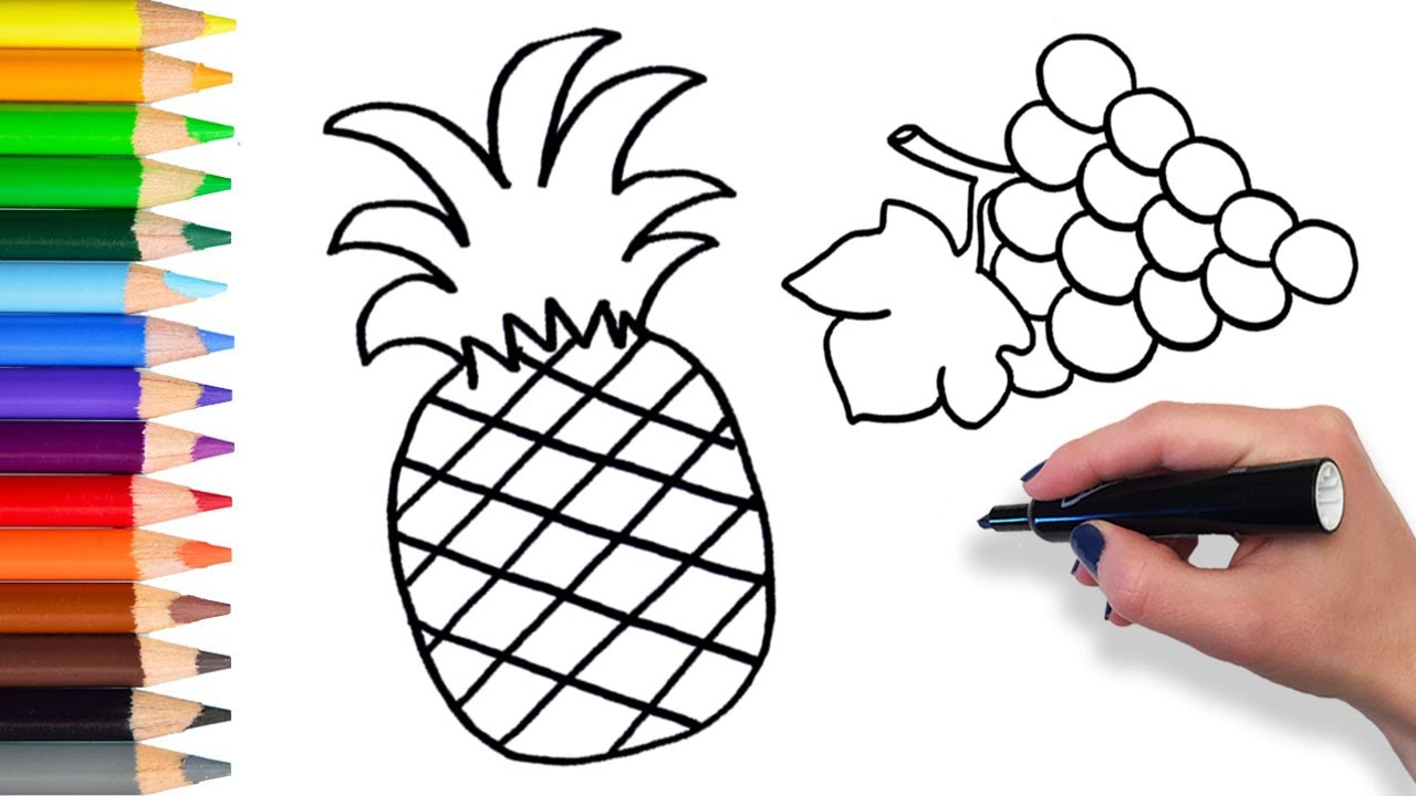 1280x720 Learn How To Draw Fresh Fruits Teach Drawing Coloring