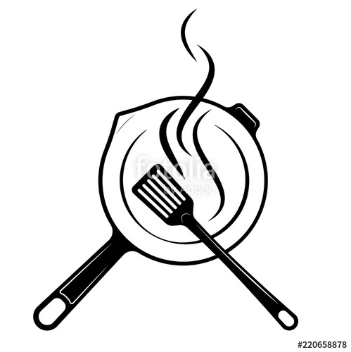 499x500 logo for the menu or restaurant frying pan and shovel for frying