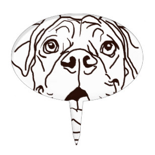 307x307 Black And White Dog Drawing Cake Toppers Zazzle
