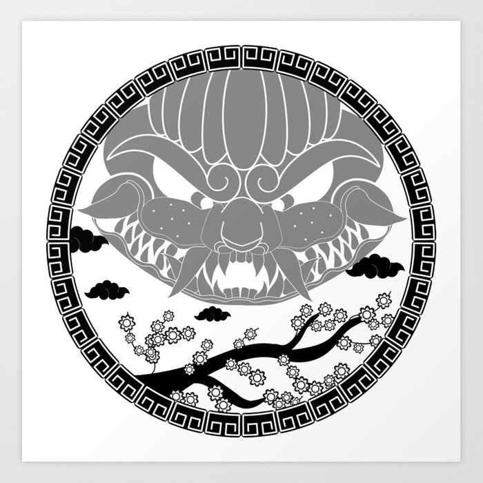 700x700 Foo Dog Gray Art Print