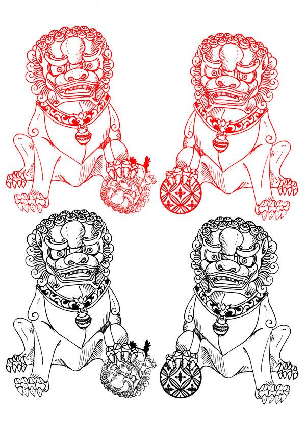600x856 Fu Dog Drawing