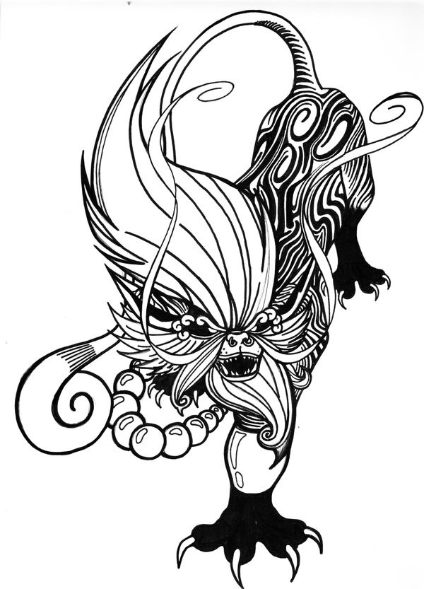 600x833 Terrible Chinese Foo Dog Tattoo Design