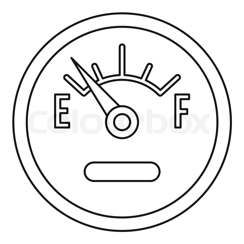 800x800 Fuel Gauge Showing Empty Icon Outline Stock Vector Colourbox