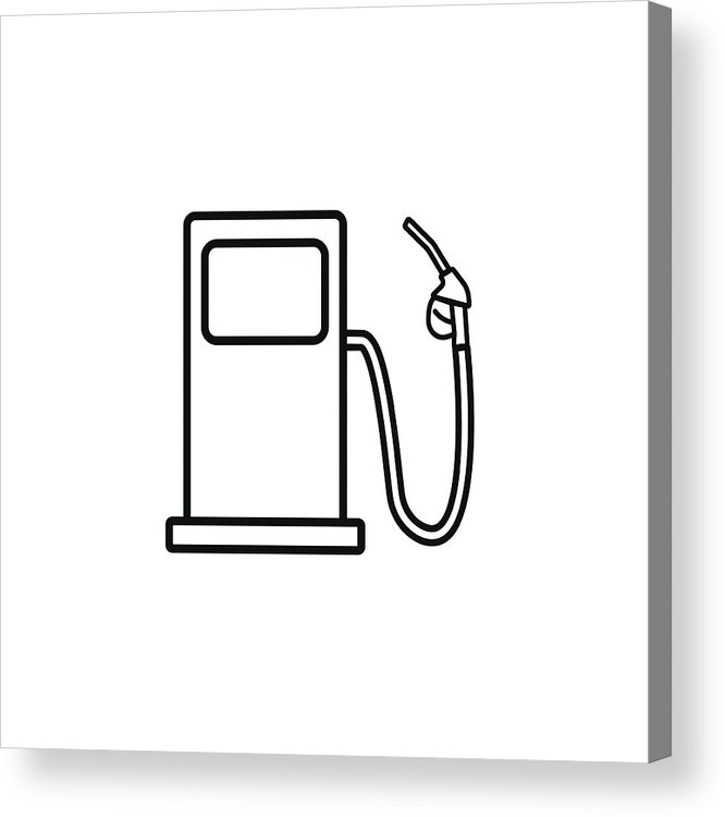 666x750 Gas Station Line Icon, Fuel And Refill Sign Acrylic Print
