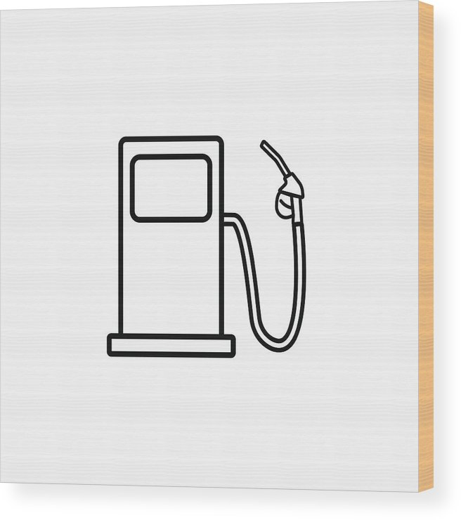 656x740 Gas Station Line Icon, Fuel And Refill Sign Wood Print