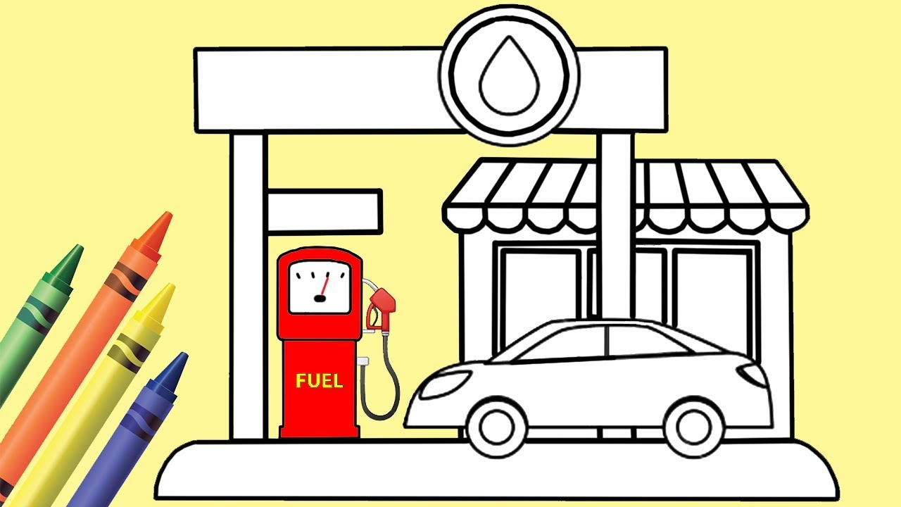1280x720 How To Draw And Color Gas Station Coloring Pages For Kids Play