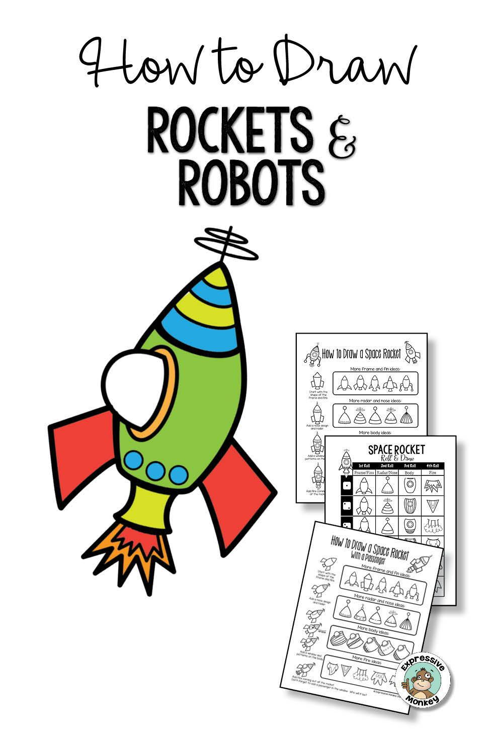 980x1469 How To Draw Rockets And Robots Look Mini Art Lessons