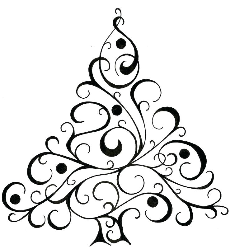 739x800 Christmas Tree Drawing Easy Drawings Black And White Fun
