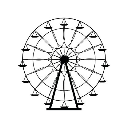 416x416 ferris wheel silhouette, funfair vector stock vectors