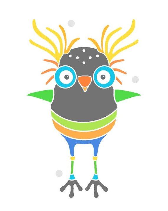 570x713 Funny Bird Design Room Decor Wall Art Animal Drawing Bird Etsy