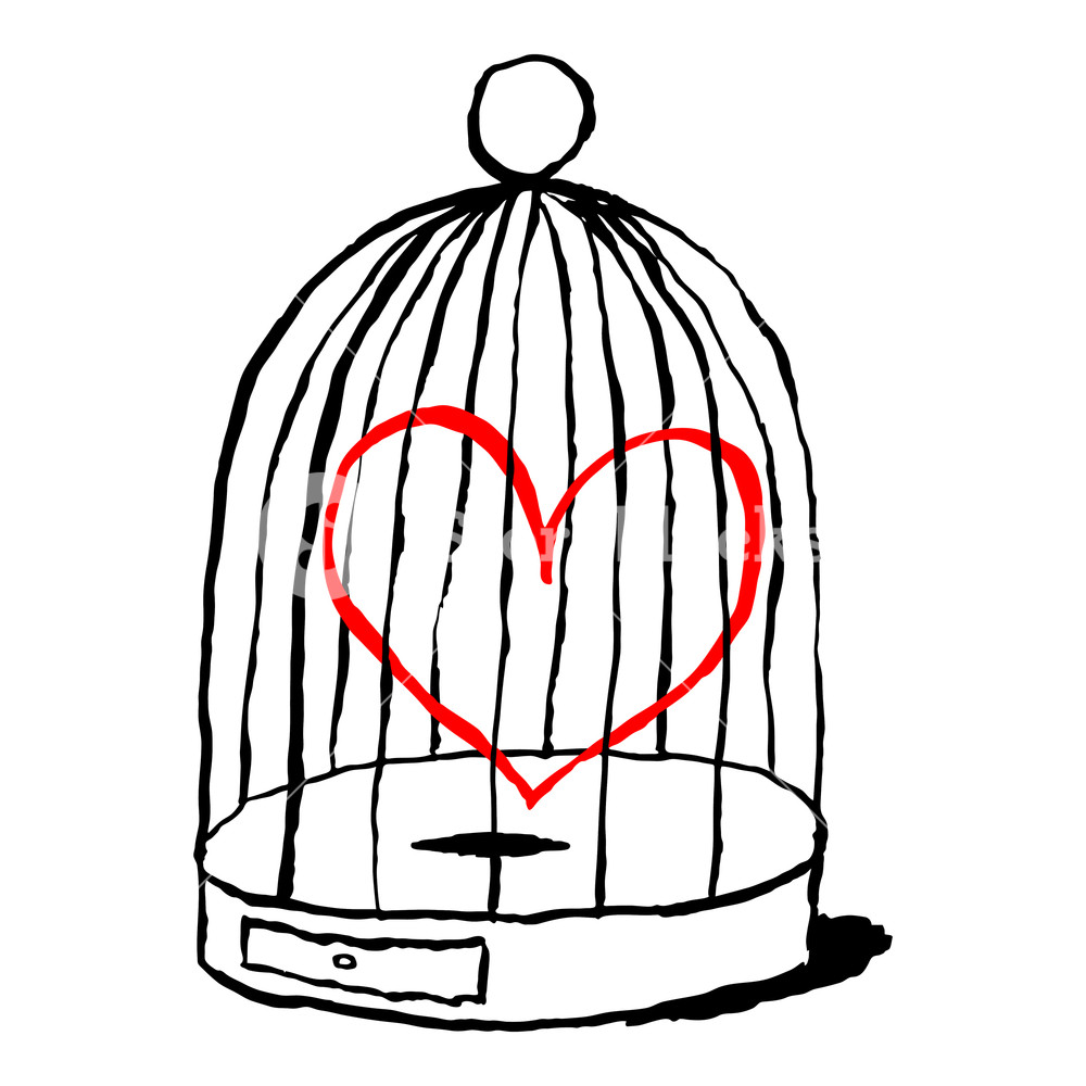 1000x1000 Red Heart Is Sad In Birds Cage Isolated On White Background Funny