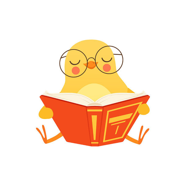 600x600 Cute Baby Chicken In Glasses Sitting On The Floor And Reading
