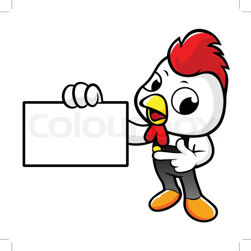 800x800 Funny Chicken Character Holding A Stock Vector Colourbox