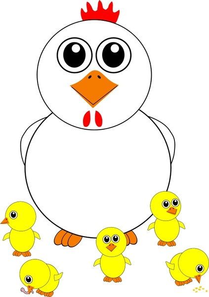 423x600 Funny Chicken And Chicks Cartoon Free Vector In Open Office