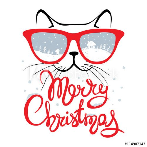 500x500 Christmas Card, Cat In Glassesfunny Christmas Hand Drawing