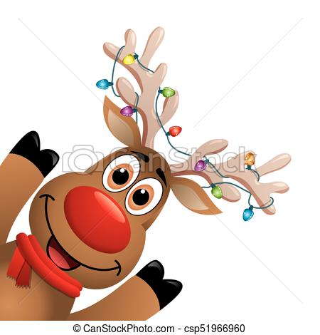450x470 Vector Xmas Drawing Of Funny Red Nosed Reindeer Christmas Card