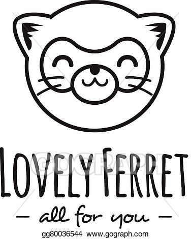 376x470 Vector Funny Cartoon Polecat Head Logo Line Stle Ferret Logotype
