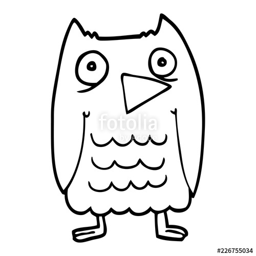 500x500 Funny Line Drawing Cartoon Owl Stock Image And Royalty Free