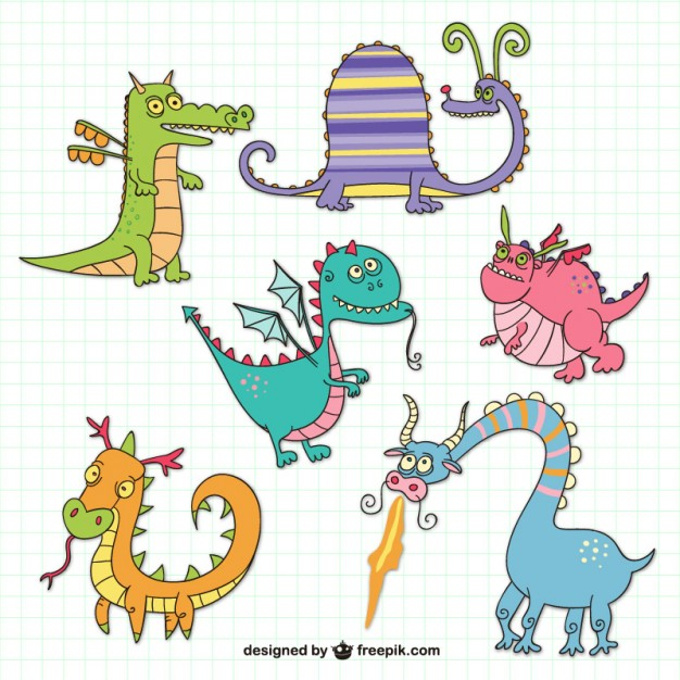 626x626 Funny Dragons Drawings Free Vector Free Vectors Ui Download