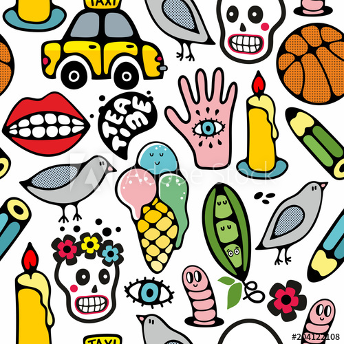 500x500 Seamless Pattern With Funny Drawings