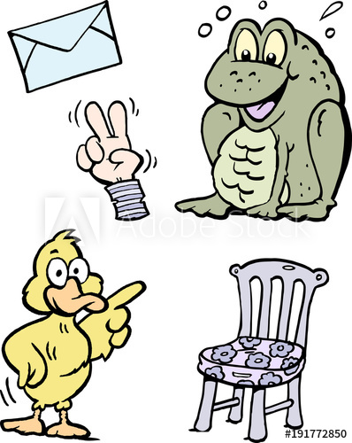 398x500 Cartoon Vector Illustration Of A Set Of Funny Clipart Drawings