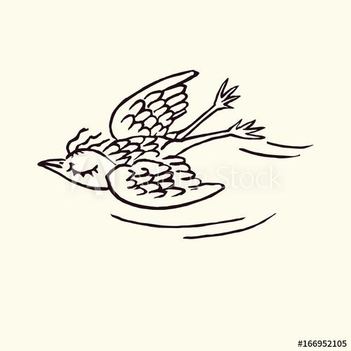 500x500 Funny Bird Enjoying Flying With Closed Eyes, Hand Drawn Doodle