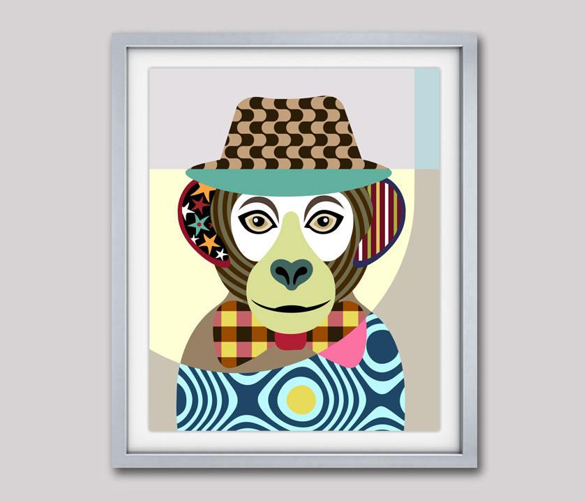 840x720 monkey art print, monkey poster, monkey painting, monkey wall art