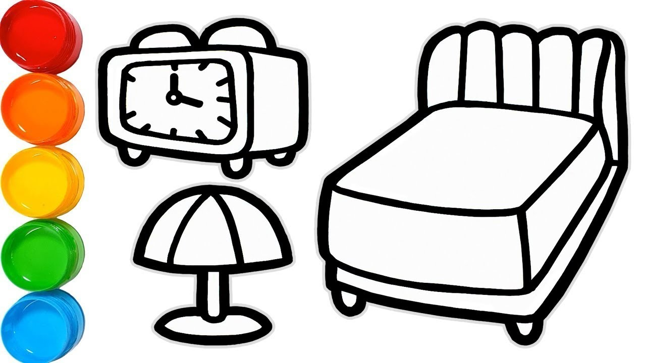1280x720 bedroom furniture drawing and coloring pages for kids bedroom