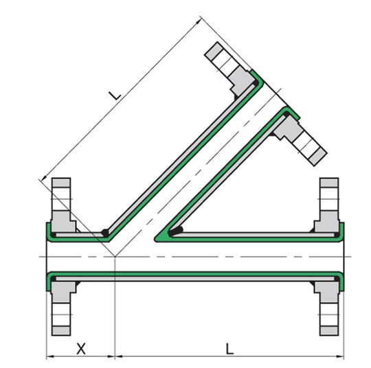 540x536 ga drawing lateral tee ptfe lined pipes and teflon lined