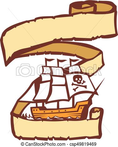 378x470 pirate ship sailing scroll retro illustration of a pirate sailing