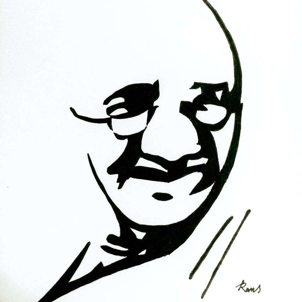 960x960 Gandhiji Drawing Calligraphy For Free Download