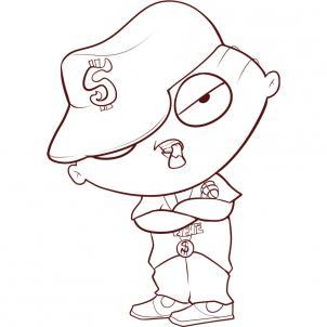 302x302 How To Draw Gangster Stewie, Step