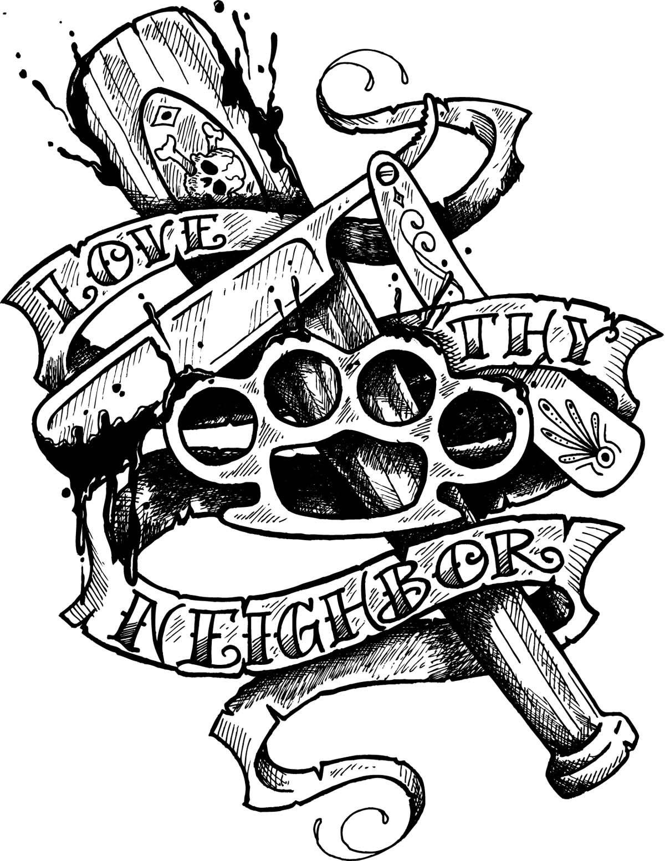 1200x1554 Traditional Tattoo Clown Flash Neighborly Drawing