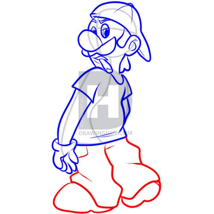 720x720 How To Draw Gangster Luigi, Step