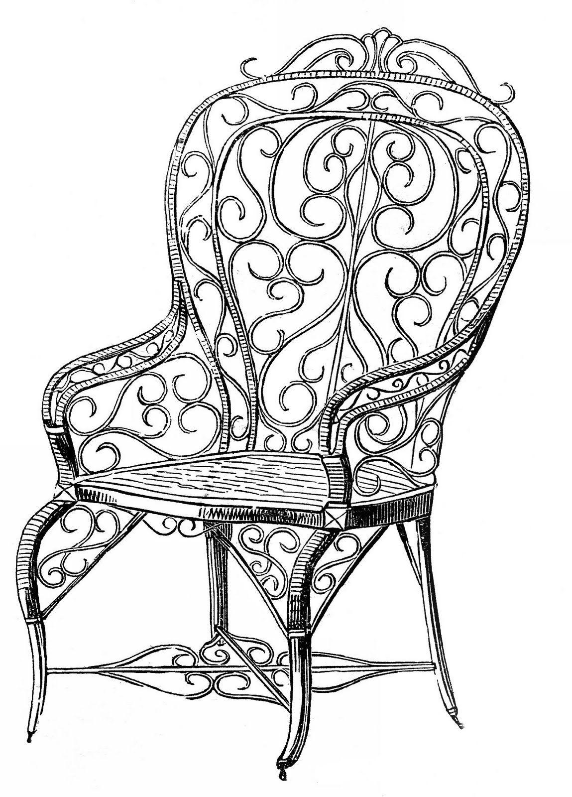 1149x1600 Chair Clipart Images! Grafics Garden Chairs, Wicker Dresser