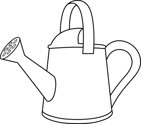 550x484 Colorable Watering Can Outline
