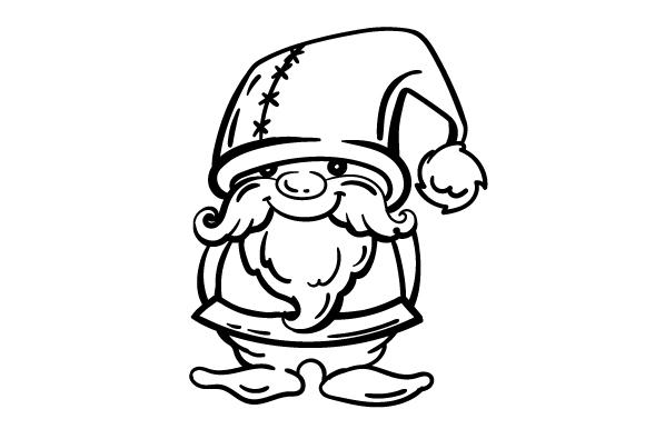580x386 Garden Gnome Line Art Drawing
