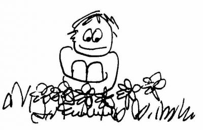 400x256 Drawing Sitting In Flowers