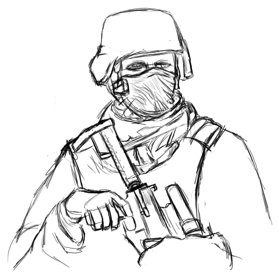 Gas Mask Soldier Drawing