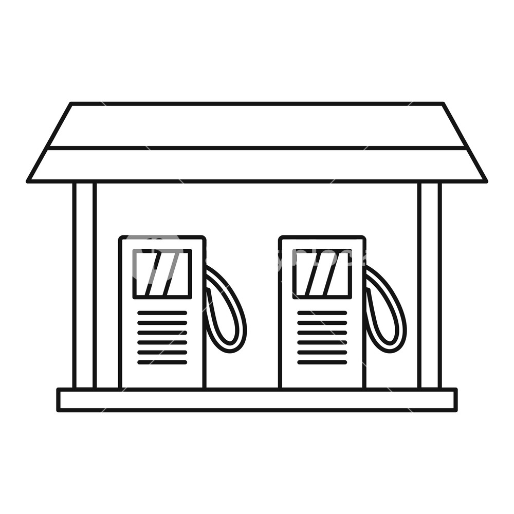 1000x1000 gas station icon outline illustration of gas station vector icon
