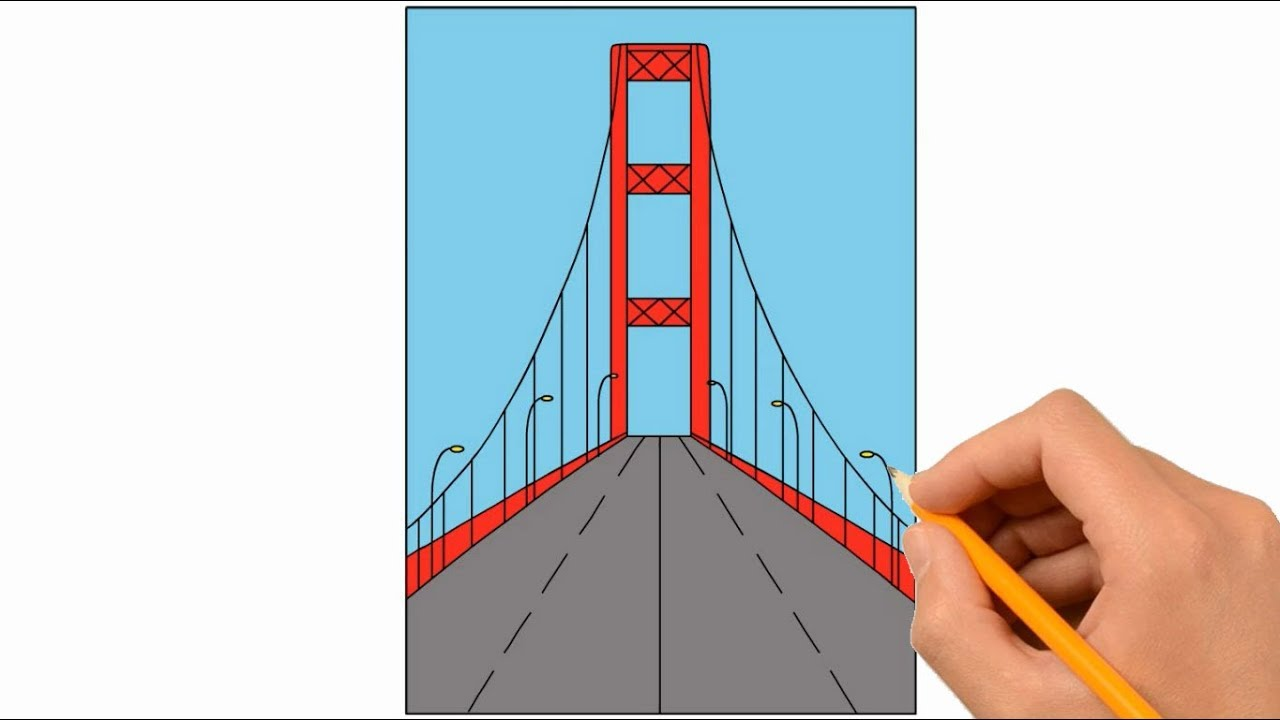 1280x720 How To Draw Golden Gate Bridge Coloring Page, Drawing Learn
