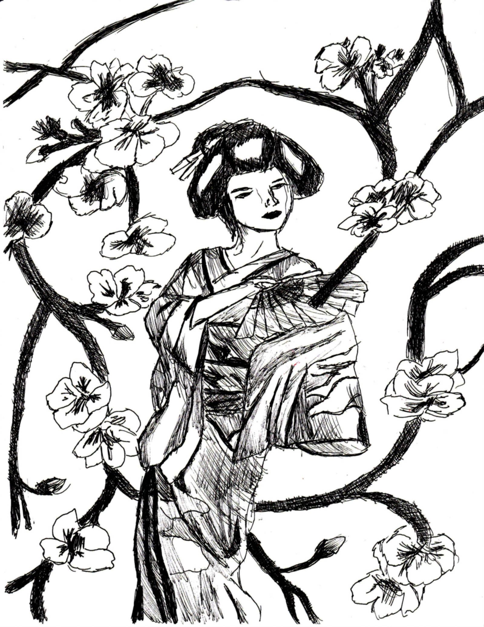 1600x2071 Geisha Drawing